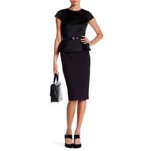 Ted Baker Lenci Black Peplum Midi Dress